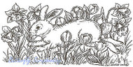EASTER Bunny with Spring Flowers Wood Mounted Rubber Stamp NORTHWOODS O8999 New