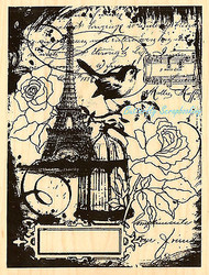 Eiffel Tower Bird Collage Wood Mounted Rubber Stamp STAMPENDOUS Stamp R202 New