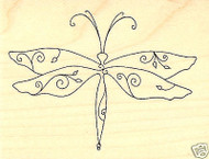 ELEGANT DRAGONFLY Wood Mounted Rubber Stamp Impression Obsession D2289 NEW