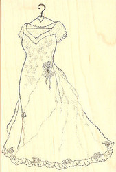 Elegant Wedding Dress Large Wood Mounted Rubber Stamp Impression Obsession NEW
