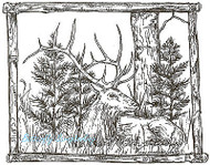 Elk In Branch Frame Wood Mounted Rubber Stamp Northwoods Rubber Stamp New