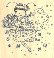 FAIRY Flower Phoebe Wood Mounted Rubber Stamp IMPRESSION OBSESSION NEW G11015