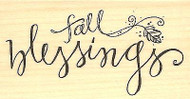 FALL BLESSINGS Wood Mounted Rubber Stamp Impression Obsession C19008 NEW