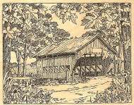 Fall Leaves Covered Bridge Wood Mounted Rubber Stamp Impression Obsession NEW