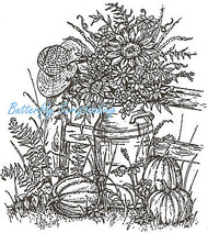 Fall Pumpkins & Milkcan Wood Mounted Rubber Stamp Northwoods Rubber Stamp New