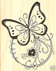 Fancy BUTTERFLY Circle Wood Mounted Rubber Stamp Inkadinkado Stamp New