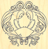 Fancy Ocean Crab Wood Mounted Rubber Stamp Leigh Hannan Impression Obsession NEW