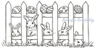 Fence With Bunnies And Eggs, Wood Mounted Rubber Stamp NORTHWOODS - NEW, O7928