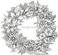 Floral Wreath & Hummingbirds, Wood Mounted Rubber Stamp NORTHWOODS - NEW, PP8027