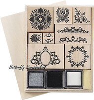 Flourish Wood Mounted Rubber Stamp Set & Ink Box Martha Stewart Crafts New