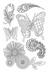 Flowers Butterflies Elegance 6 Clear Unmounted Rubber Stamps by Kaisercraft NEW
