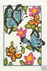 Fluttering BUTTERFLIES Crafters Square Craft Counted Cross Stitch Kit 847671 NEW