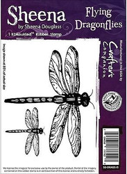 FLYING DRAGONFLIES Cling Unmounted Rubber Stamp SHEENA DOUGLASS SD-DRAGS-IS New