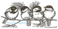 Four Chickadees On Pine, Wood Mounted Rubber Stamp NORTHWOODS - NEW, O8880