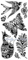 FOX BIRD Fancy Fauna Clear Unmounted Rubber Stamp Set INKADINKADO 60-31258 NEW