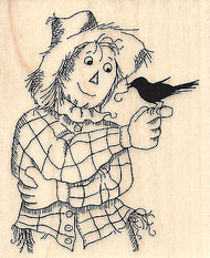Friendly Scarecrow, Wood Mounted Rubber Stamp STAMPENDOUS, NEW - V282