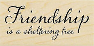 Friendship Is Sheltering Text Wood Mounted Rubber Stamp STAMPENDOUS L262 New
