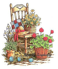 Garden Chair Flower Scene Cling Unmounted Rubber Stamp C.C. Designs JD1043 New