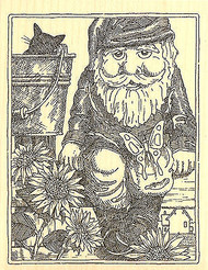 Garden Gnome on Bench Wood Mounted Rubber Stamp Impression Obsession NEW