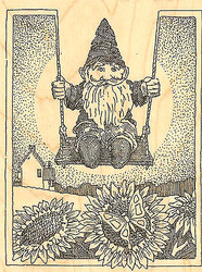 Garden Gnome on Swing Wood Mounted Rubber Stamp Impression Obsession NEW