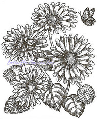 Gerbera Daisies And Monarch, Wood Mounted Rubber Stamp NORTHWOODS - NEW, P9492