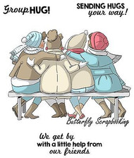 GIRLFRIENDS Group HUG Set Cling Unmounted Rubber Stamp Art Impressions 4546 NEW
