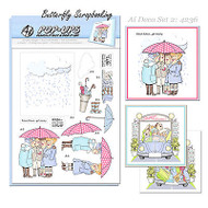 GIRLFRIENDS Pop Ups Card Kit Art Deco Set 2 Umbrella Shop AI Art Impressions NEW