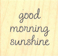 Good Morning Text, Wood Mounted Rubber Stamp IMPRESSION OBSESSION - NEW, A9622