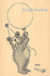 GRUFFIES Bear Balloon Bear Wood Mounted Rubber Stamp STAMPENDOUS HGRP05 New