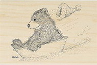 GRUFFIES BEAR Christmas Sledding Wood Mounted Rubber Stamp STAMPENDOUS HGRP07