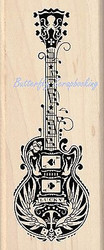 GUITAR Mindscape Music Wood Mounted Rubber Stamp by INKADINKADO 60-01056 NEW