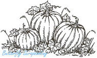 Halloween 3 Pumpkins Wood Mounted Rubber Stamp Northwoods Rubber Stamp New