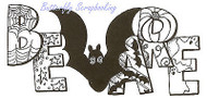 Halloween Bat BEWARE Wood Mounted Rubber Stamp Northwoods Rubber Stamp Ne