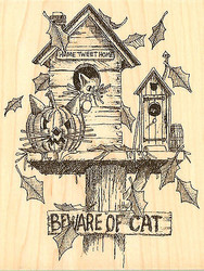 Halloween Birdhouse, Wood Mounted Rubber Stamp IMPRESSION OBSESSION - NEW, G1646