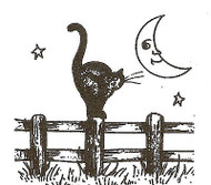 Halloween Cat & Moon Fence Wood Mounted Rubber Stamp NORTHWOODS C9581 New