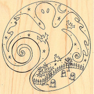 Halloween Ghost Gravestones Wood Mounted Rubber Stamp Impression Obsession NEW