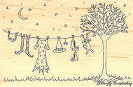 HALLOWEEN Laundry Night Wood Mounted Rubber Stamp IMPRESSION OBSESSION J2378 New