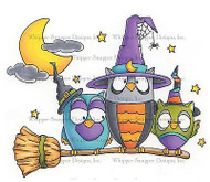 HALLOWEEN OWLS Cling Unmounted Rubber Stamp Whipper Snapper Designs MY641 NEW