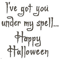 Halloween Saying Under My Spell Wood Mounted Rubber Stamp NORTHWOODS C9604 New