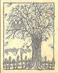 Halloween SPOOKY TREE Wood Mounted Rubber Stamp Impression Obsession L19031 NEW