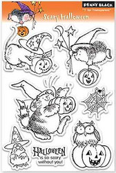 HALLOWEEN Stamp Set Clear Unmounted Rubber Stamp Set PENNY BLACK 30-076 New