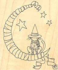 HALLOWEEN Witch Cat Moon Wood Mounted Rubber Stamp Impression Obsession F2344NEW