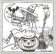 Halloween Witch Spells Book Wood Mounted Rubber Stamp NORTHWOODS PP9595 New