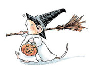 Halloween Witchy Mouse, Wood Mounted Rubber Stamp PENNY BLACK - NEW, 2253K