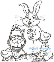 Happy Easter Bunny Basket Wood Mounted Rubber Stamp Northwoods Rubber Stamp New