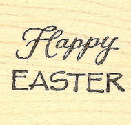 Happy Easter Text, Wood Mounted Rubber Stamp NORTHWOODS - NEW, B8482