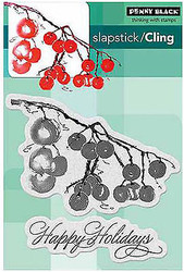 Happy Holidays Berry Branch Set 2 Unmounted Rubber Stamps PENNY BLACK 40-346 New