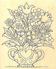 Heart Flower Vase, Wood Mounted Rubber Stamp IMPRESSION OBSESSION - NEW, G16059