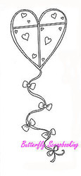 Heart Kite NORTHWOODS Wood Mounted Rubber Stamp NEW St Valentine's Day