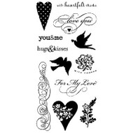 HEARTS LOVE Sayings Clear Unmounted Rubber Stamps Set INKADINKADO 97619 New